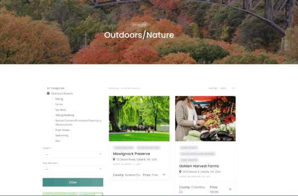 Outdoors Page on the Online Hudson Valley Directory
